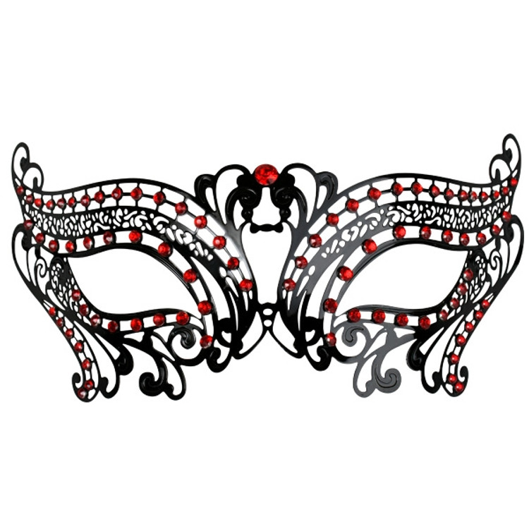 Toulouse Metal Eye Mask with Red Jewels