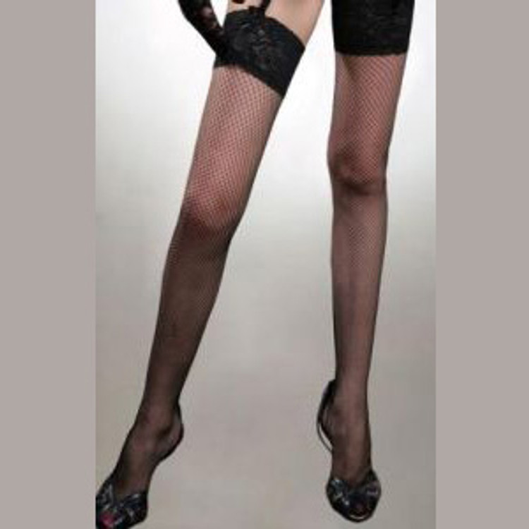 Stockings - Fishnet Thigh High Stay-Up Black