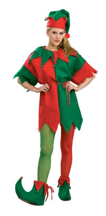 Elf Jester Red & Green Womens Tights
