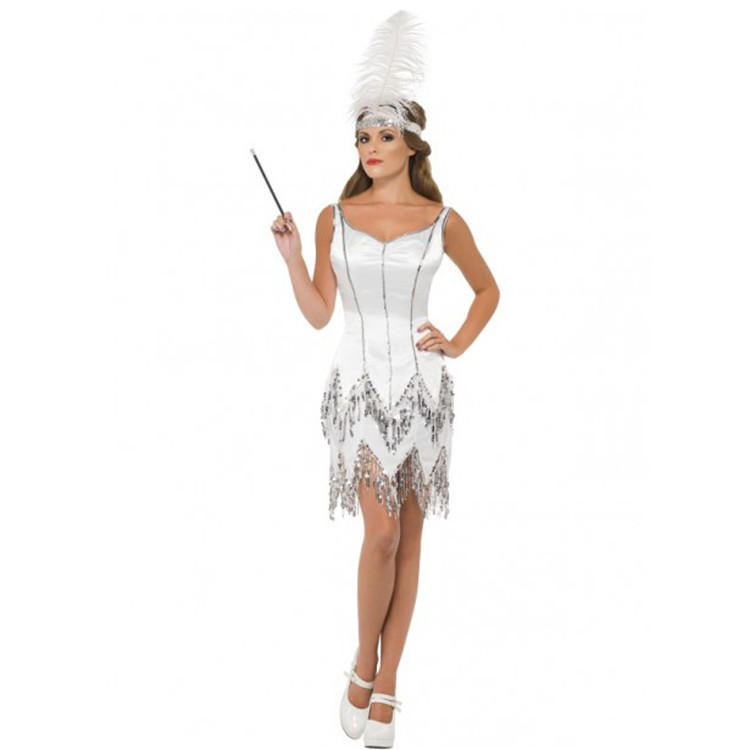 Flapper Fever Dazzle Silver Womens Costume