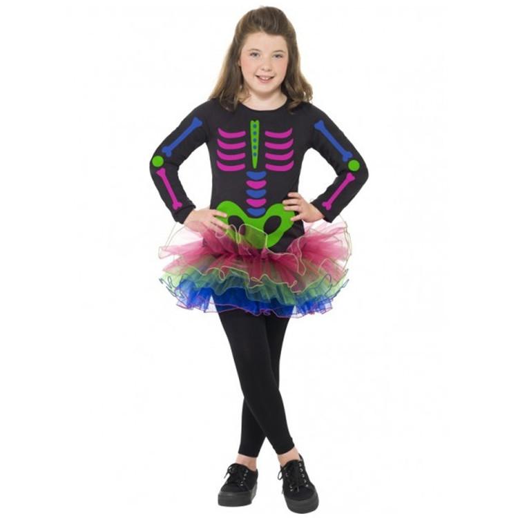 Skeleton Neon Tutu Girls Costume