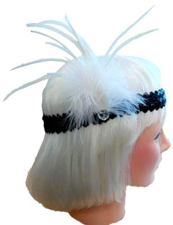 1920s Sequin Headband - White/Black