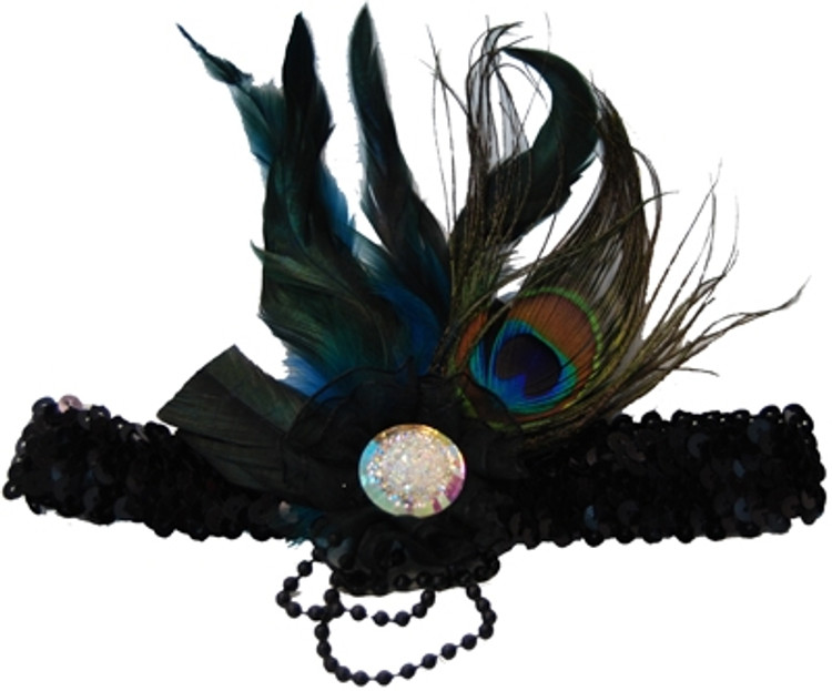 1920s Sequin Headband - Peacock Feather