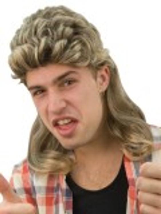 1980s Mullet Wig - Brown Blonde