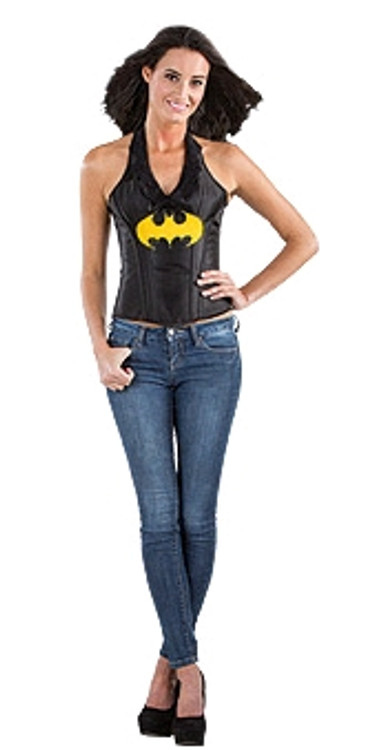 Batgirl Leather Look Corset  Womens Costume