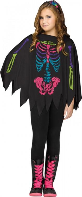 Skeleton Coloured Kids Poncho