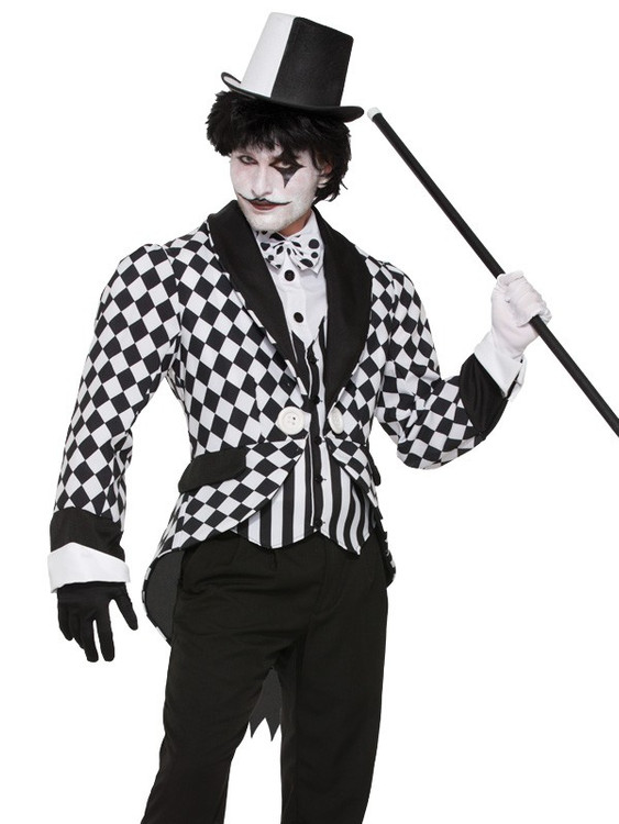 Harlequin Jacket Mime Adult Costume