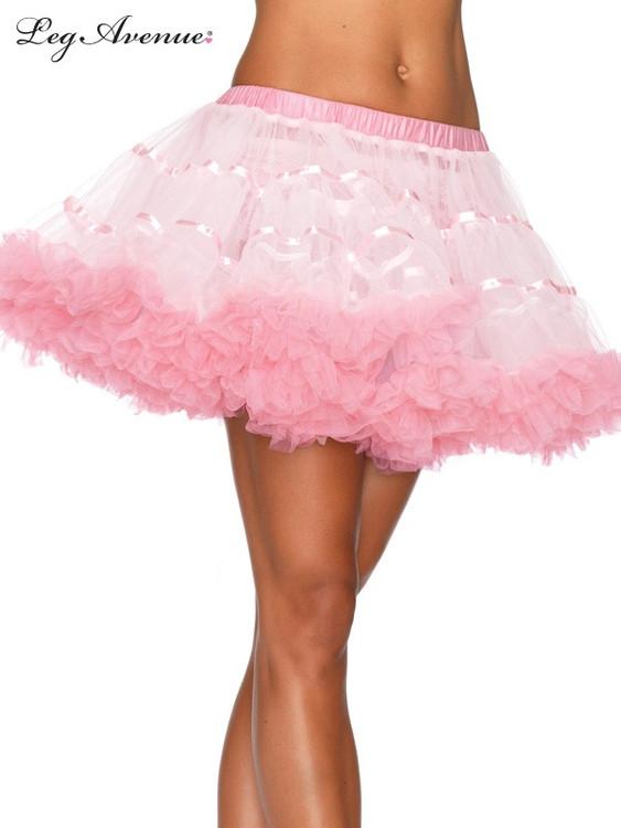 Petticoat Satin Striped Tulle Petticoat - White/Light Pink