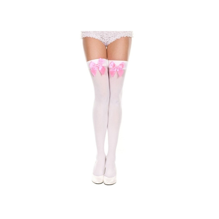 Thigh High White Stockings with Soft Pink Bow