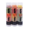 The first tube on the left in the picture of Our Sassy 3 Pack... The first flavor you will enjoy is the Peach for the whole pink section, once the pink is all gone you will go to the green which is Watermelon, then onto orange and enjoy Tangerine!  All of the lip balms, no matter what color in the tube... apply clear to the lips!  Below you will find a complete list of each lip balm and the wonderful flavors you will enjoy. When you get Our Sassy 3 Pack you will have 3 lip balms with 9 flavors for you, or plenty to share with all of your friends to enjoy the flavors! These lip balms are moisturizing and are amazing! By ordering Our Sassy 3 Pack you save...$1.00!!  1 ~ Pink: Peach, Green: Watermelon, and Orange: Tangerine 2 ~ Orange: Tangerine, Red: Mango Peach Fusion, and Yellow: Pineapple 3 ~ Yellow: Mango, Pink: Peach, and Green: Pearberry *** These are shown in the picture from left to right