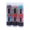 The first tube on the left in the picture of Our Feisty 3 Pack... The first flavor you will enjoy is the Fruit Punch for the whole purple section, once the purple is all gone you will go to the Pink which is Pink Lemonade, then onto blue and enjoy Raspberry!  All of the lip balms, no matter what color in the tube... apply clear to the lips!  Below you will find a complete list of each lip balm and the wonderful flavors you will enjoy. When you get Our Feisty 3 Pack you will have 3 lip balms with 9 flavors for you, or plenty to share with all of your friends to enjoy the flavors! These lip balms are moisturizing and are amazing! By ordering Our Feisty 3 Pack you save...$1.00!!  1 ~ Purple: Fruit Punch, Pink: Pink Lemonade, and Blue: Raspberry 2 ~ Pink: Watermelon, Green: Apple, and Red: Strawberry 3 ~ Blue: Cotton Candy, Pink: Raspberry Lemonade, and Red: Cherry  *** These are shown in the picture from left to right