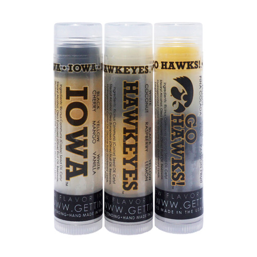 The first tube on the left in the picture of our 3 Feisty Hawks... The first flavor you will enjoy is the Cherry for the whole black section, once the black is all gone you will go to the yellow which is Mango and then onto white and enjoy Vanilla!    All of the lip balms no matter what color in the tube... apply clear to the lips!  Below you will find a complete list of each lip balm and the wonderful flavors you will enjoy. When you get our 3 Feisty Hawks you will enjoy 1 of each of the Iowa Hawkeye lip balm combinations with multiple lip balm flavors for yourself or plenty to share with all of your friends to enjoy!  These lip balms are moisturizing and are amazing!   By ordering Our 3 Feisty Hawks YOU SAVE $1.00!!  1 ~ Black: Cherry, Yellow: Mango, and White: Vanilla  2 ~ White: Coconut, Black: Raspberry, and Yellow: Lemon  3 ~ Yellow: Pina Colada, White: Pear, and Black: Passion Fruit
