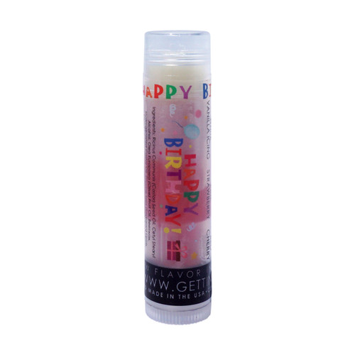 In Our Happy Birthday lip balm... The first flavor you will enjoy is the Vanilla Icing for the whole white section, once the white is all gone you will go to the pink which is Strawberry, then onto red and enjoy Cherry!  All of the lip balms no matter what color in the tube... apply clear to the lips!  These lip balms are moisturizing and are amazing!   By ordering 3, 6 or 12 of these lip balms it will save you $$$$! So don't forget to get some for your friends!!  Happy Birthday ~ White: Vanilla Icing, Pink: Strawberry, Red: Cherry