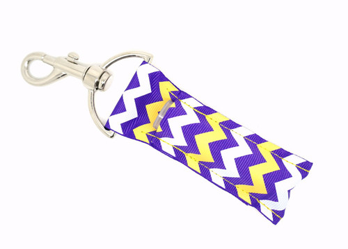 Purple, Yellow, and White Chevron  This lip balms holder is very durable with a stainless steel hook that is easily attached and unattached to a purse, keys, backpack, or lanyard.