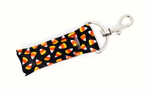 Candy Corn lip balm holder     This lip balms holder is very durable with a stainless steel hook that is easily attached and unattached to a purse, keys, backpack, or lanyard.  MADE IN THE USA!!