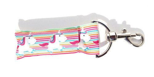 Unicorn Lip balm Holder  This lip balms holder is very durable with a stainless steel hook that is easily attached and unattached to a purse, keys, backpack, or lanyard. This lip balm holder has Unicorns with rainbow stripes behind.   MADE IN THE USA!!