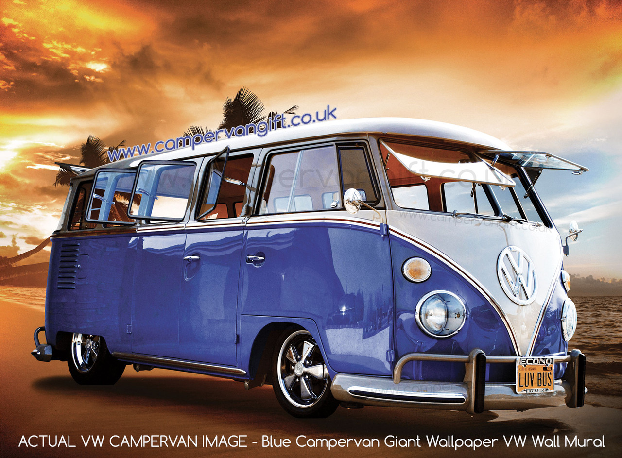 Blue Campervan Giant Wallpaper VW Wall Mural