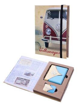VW Campervan Lighter & Cigarette Case Blue Gift Set