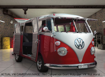 Red Campervan Giant Wallpaper VW Wall Mural - Actual Image