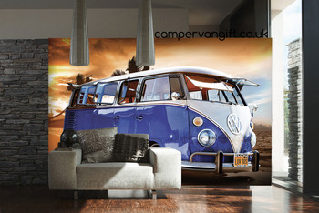 Red campervan giant wallpaper vw wall mural park a for Campervan wall mural