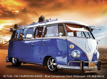 Blue Campervan Sunset Giant Wallpaper VW Wall Mural - Actual Wallpaper Image