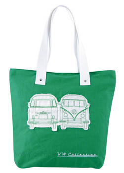 VW Campervan Green Canvas Shopper Bag