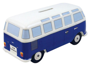 VW T1 Classic Blue Campervan Money Box
