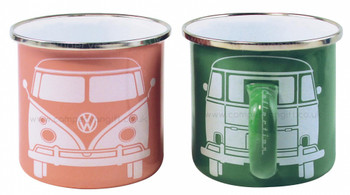VW T1 Campervan Apricot & Green Enamel Tin Mug Set