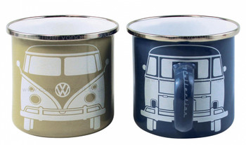 VW T1 Campervan Blue & Cream Enamel Tin Mug Set