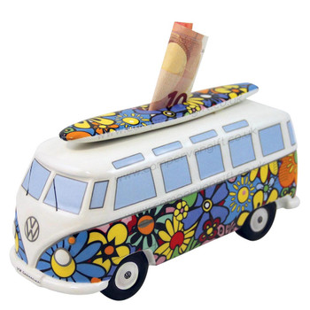 VW T1 Flowers Campervan Money Box