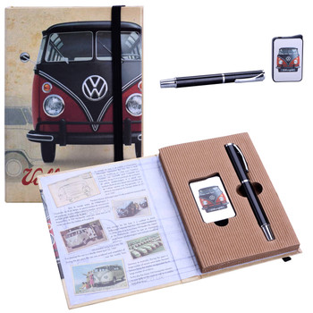 VW Campervan Lighter & Pen Black & Red Gift Set
