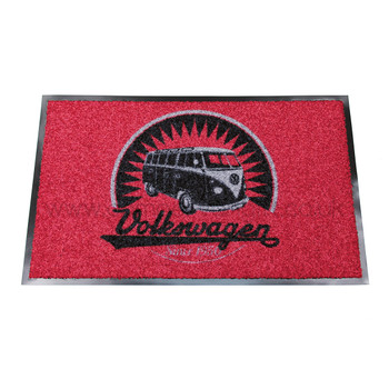 Retro Black & Red VW Campervan Doormat