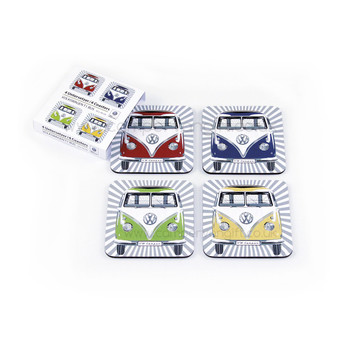 VW Multi Coloured Campervan Coaster Set
