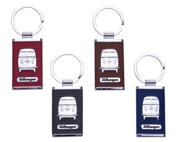 Chrome Embossed VW Campervan Key Ring