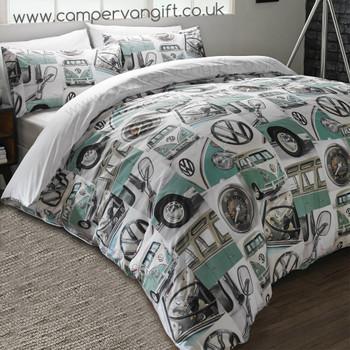 Volkswagen Classic Mint Campervan Duvet and Pillow Case Set
