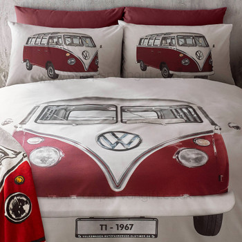 Volkswagen Red Campervan On Tour Duvet and Pillow Case Set (Throw not included)