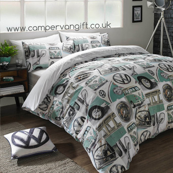 Volkswagen VW Roundel Logo Campervan Cushion - Matching Duvet Set also available.