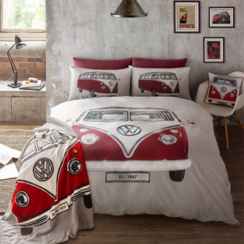 Volkswagen Red Retro T1 Campervan Cushion - Matching Duvet Set and Throw also available.