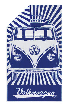 Volkswagen Blue Campervan Beach Towel
