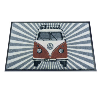 Red Front Facing VW Campervan Stripes Doormat