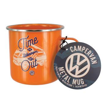 Volkswagen T25 Campervan Orange Enamel Tin Mug