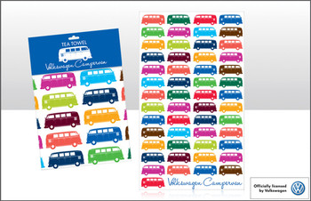 VW Multi Coloured Campervan Tea Towel