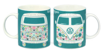 VW Flower Patterned Campervan Mug