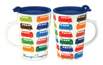 VW Multi Coloured Campervan Travel Mug