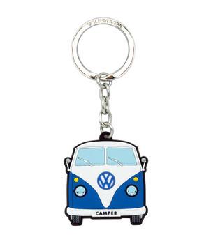 VW Campervan Rubber Keyring - Front View - Blue
