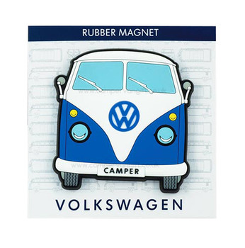 VW Campervan Rubber Fridge Magnet - Front View - Blue
