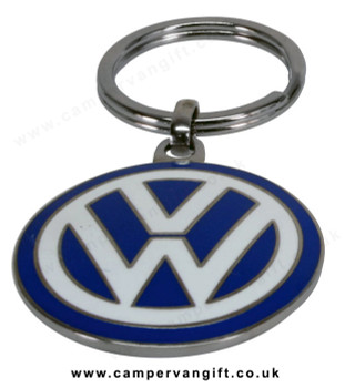 VW Logo Keyring - VW Blue Enamel Keyring Double Sided - LARGE 4cm