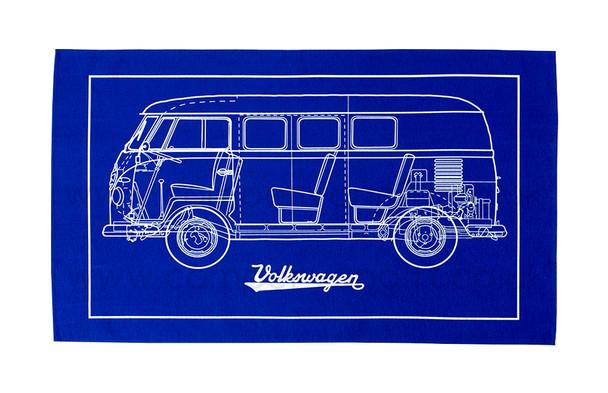 Volkswagen Campervan Blueprint Tea Towel