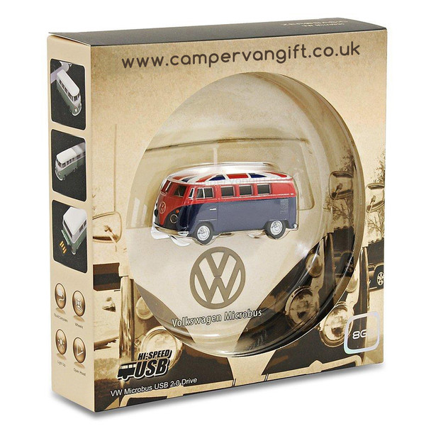 VW Union Jack Campervan 8GB USB Memory Stick - Gift Box