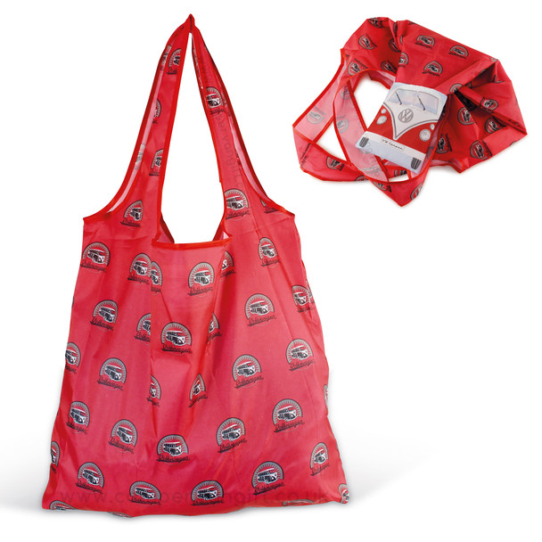 VW Red Campervan Foldable Shopper Bag